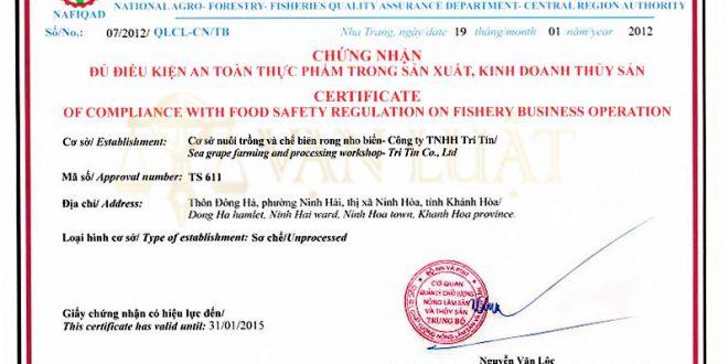 Giấy đủ điều kiện vệ sinh an toàn thực phẩm